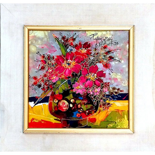 Vintage Abstract Floral Acrylic on Foil Painting - Image 2 of 10