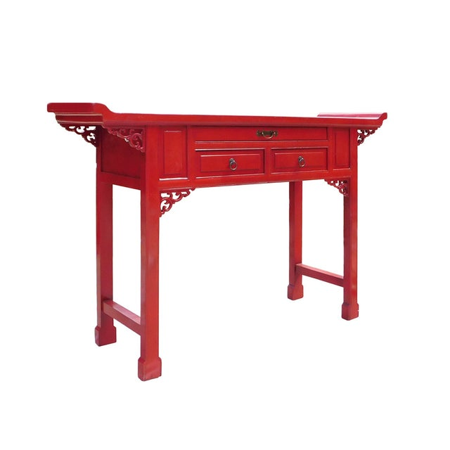 Chinese Red Lacquer Altar Console Table - Image 3 of 7
