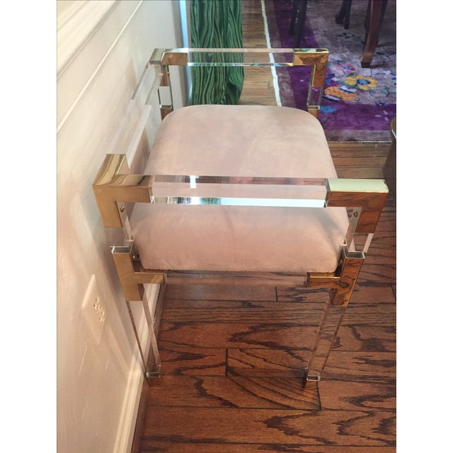 Adler Style 'Jacques' Lucite & Brass Chair Stool - Image 5 of 9