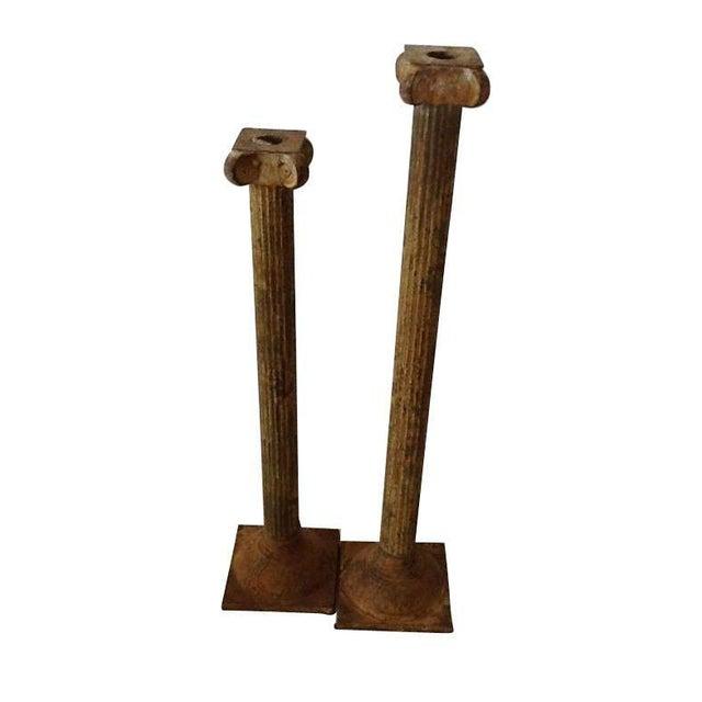 Image of Grecian Column Candlesticks - A Pair