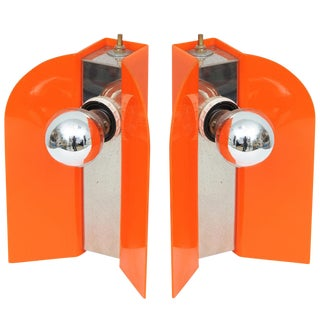 1960s Vintage Italian Modern Acrylic Lamps - a Pair