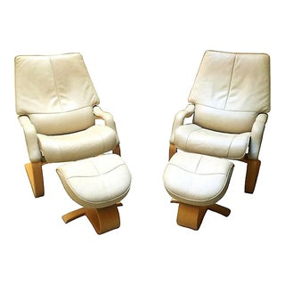 Leather Recliners W/ Footstools - Pair