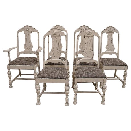 Shabby Chic White Distressed Dining Chairs - S/6 - Image 1 of 5