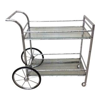 Italian Style Faux Bamboo Chrome Bar Cart