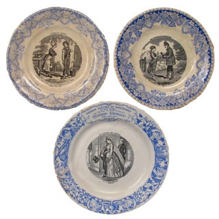 Antique Blue & White French Transferware, 19th C., S/3