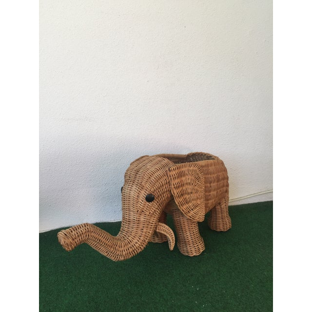 Wicker Elephant Planter - Image 2 of 9