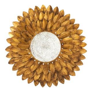 French Vintage Gilt Metal Sunflower Mirror