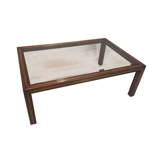 Walnut Smoke Glass Coffee Table Chairish