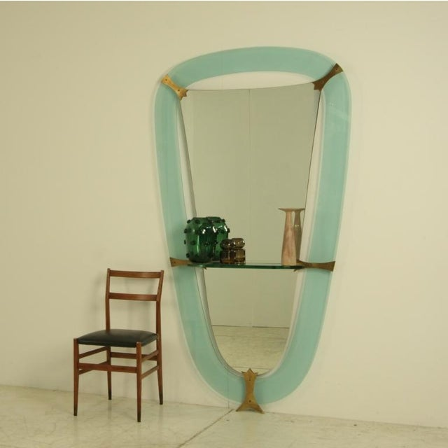 XL Crystal Art Green Glass Dressing Wall Mirror, Italy, 1950s - Image 2 of 4