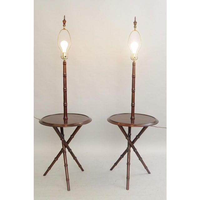 Chinese Chippendale Faux Bamboo Lamp Tables - A Pair - Image 3 of 11