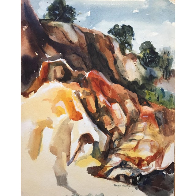 Image of Thelma Moody 1960's Double-Sided Gouache Landscape