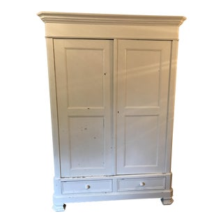 Transitional White Painted Armoire
