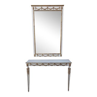 Italian Neoclassical Style Console & Mirror - A Pair