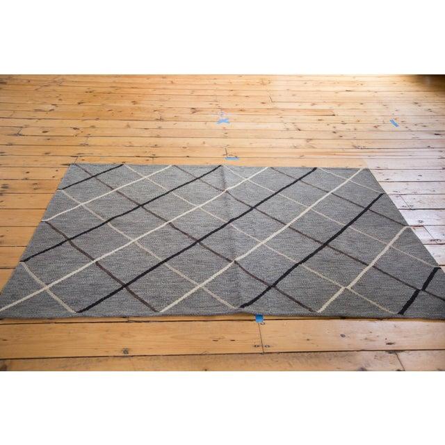 """Image of Gray Argyle Kilim Rug - 3'8"""" x 5'4"""""""