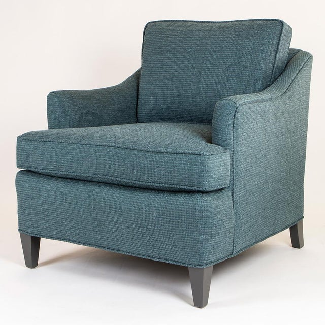 Teal Woven Armchairs - Pair - Image 5 of 10
