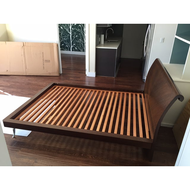 African Walnut With Matte Chrome Leg Queen Bed - Image 4 of 11