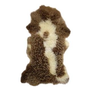"""Unique Handmade Brown Beige Wool Sheepskin Rug Throw - 2'2""""x3'8"""""""