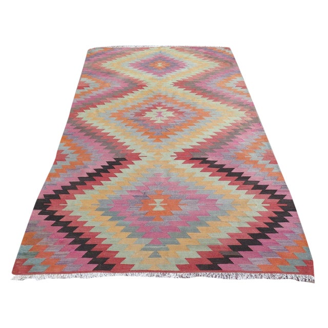 "Vintage Turkish Kilim Rug - 5'9"" X 9'3"" - Image 1 of 11"