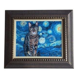 Starry Night Cat Print by Judy Henn