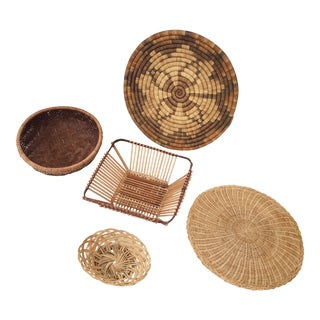 Wall Hanging Vintage Wicker Baskets - Set of 4