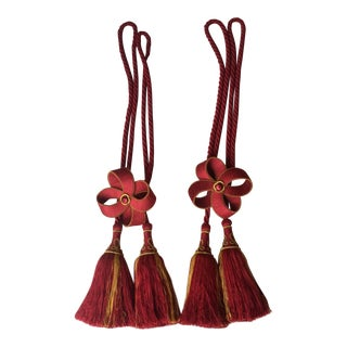 Red/Gold Houles Tiebacks - a Pair