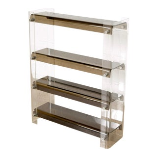 Mid Century Clear and Smoked Gray Acrylic Floor Shelf