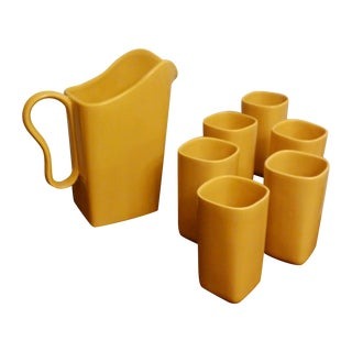 Franciscan Yellow Pitcher and 6 Square Tumbler Set