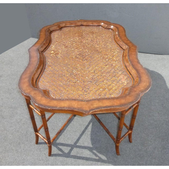 Maitland-Smith Rattan & Leather Coffee Table - Image 6 of 11