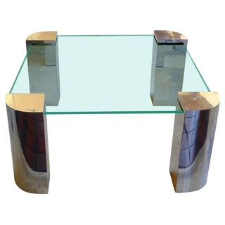 Springer Style Chrome & Glass Cocktail Table