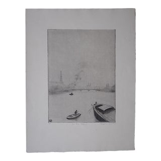 "Original Pencil Signed Ltd. Ed. Antique Engraving ""On The Seine"" By Stephen Brooks"