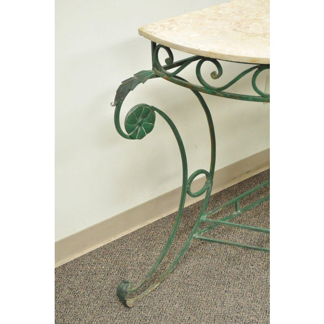 Italian Regency Style Green Wrought Iron Marble Top Console Table - Image 7 of 11