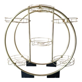 Vintage Brass Circle Plant Stand