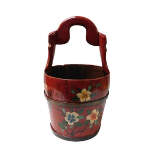 Chinese Handmade Red Floral Wood Bucket