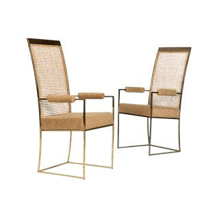 Milo Baughman Cane Back Arm Chairs - A Pair