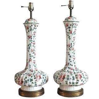 Vintage Floral Pattern Genie Lamps - A Pair