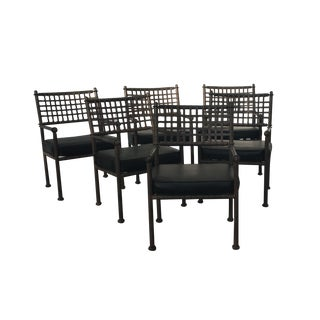 Wrought Iron & Vinyl Patio Chairs - Set of 6