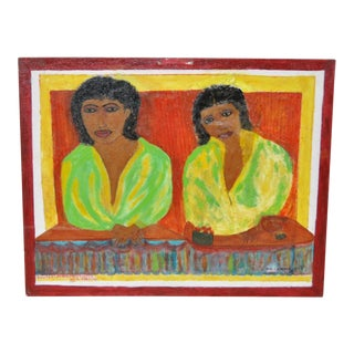 """1996 Outsider Folk Art Painting """"Sisters"""" by W. Griffith"""