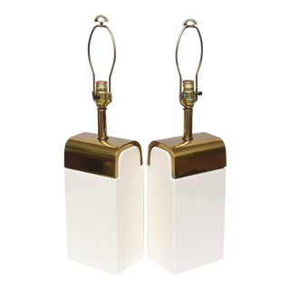 Pair of Amazing Mid-Century Ceramic and Brass Lamps, 1950s, USA