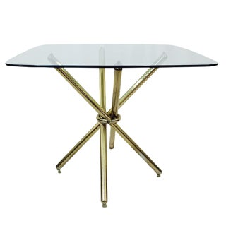 Mid-Century Modern Brass Knot Glass Top Table