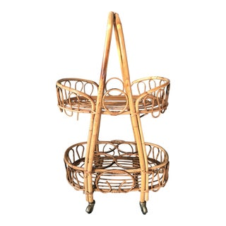 Vintage Rosenthal Netter Mid-Century Italian Rattan Boho Tea or Bar Cart, Plant Stand, or Side Table