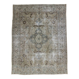 Antique Distressed Washed Out Persian Tabriz Rug - 9′6″ × 12′2″