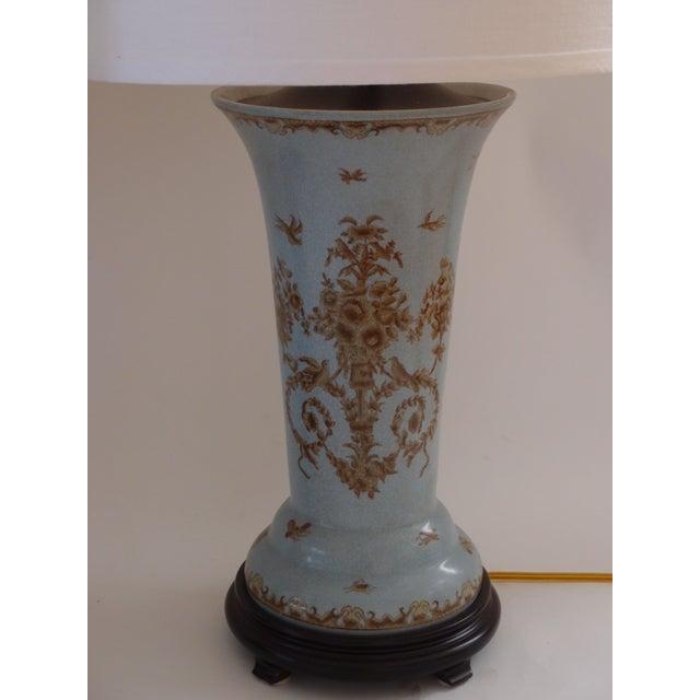 Light Blue Ceramic Lamps - A Pair - Image 3 of 7
