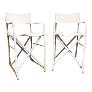 Mid Century Metal & Canvas Folding Director Chairs - A Pair