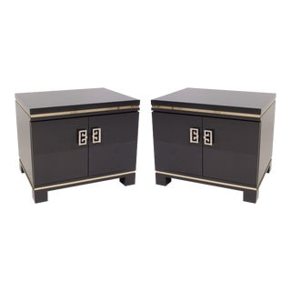 Mid-Century Nightstands in Grey Lacquer with Brass Greek Key Pulls