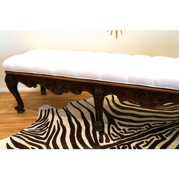 Carved Wood Button Tufted Bench - Image 3 of 6