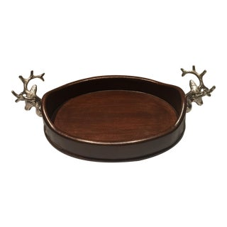 Vintage Holiday Wooden Tray With Pewter Stags