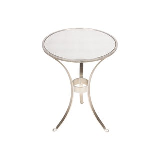 Round Steel & Mirror-Top Side Table
