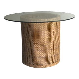 Vintage Contemporary Rattan & Glass Top Table