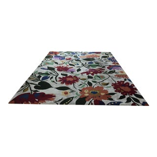 Designer Hand Tufted Floral Wool/Cotton Area Rug- 9′ × 12′