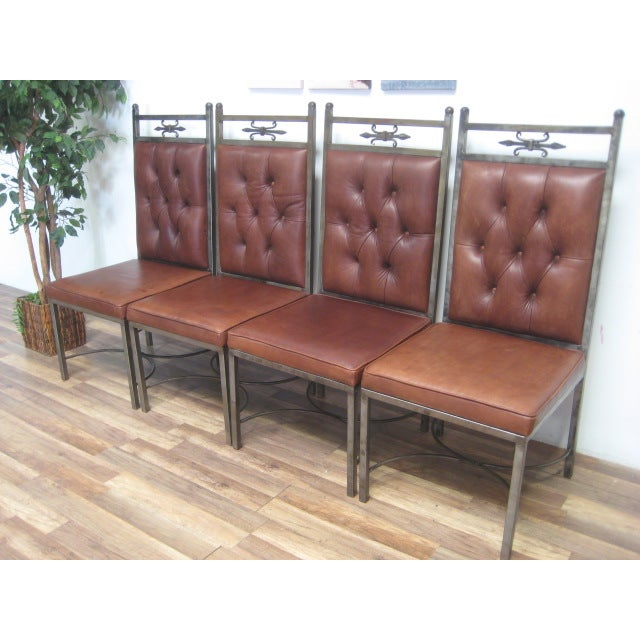 Matching genuine leather dining chairs 4 chairish for Genuine leather dining room chairs